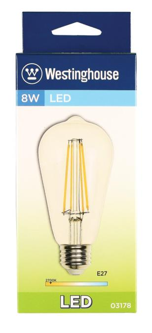westinghouse st64 8 watt 60 watt equivalent e27 base clear dimmable led lamp. Black Bedroom Furniture Sets. Home Design Ideas
