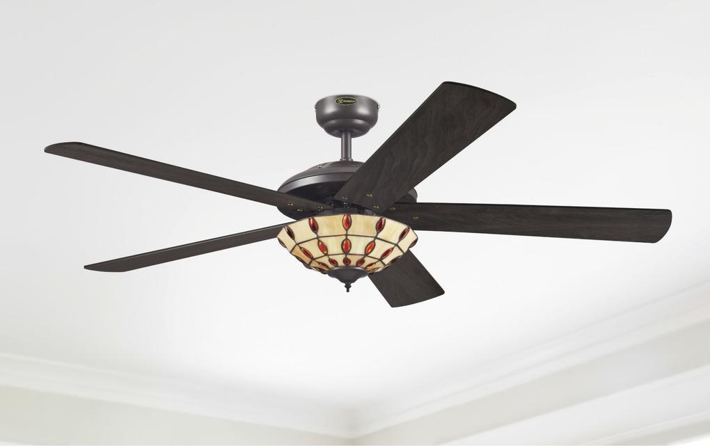 Ceiling Fan Tiffany: 132 cm Westinghouse ceiling fan Comet Tiffany in espresso with reversible  blades in wengue + dark ch,Lighting