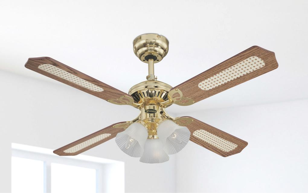 ceiling fans with four lights. 105 cm westinghouse princess trio ceiling fan in polished brass with reversible blades oak r fans four lights