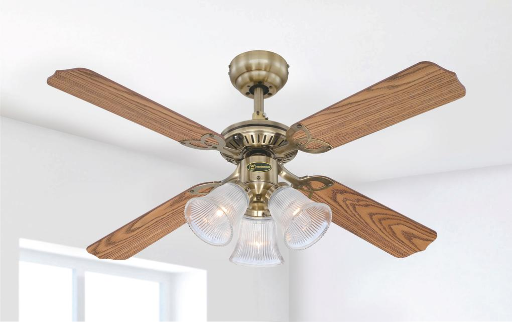 105 cm westinghouse princess trio in antique brass with reversible princess trio 105 cm42 inch reversible four blade indoor ceiling fan aloadofball Image collections